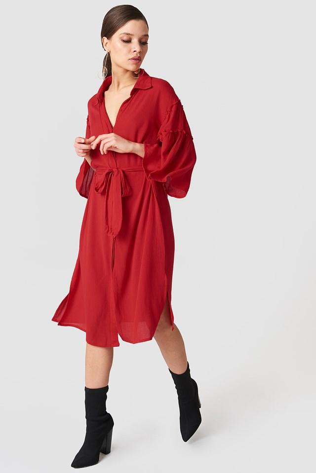 Flounce Sleeve Shirt Dress Red