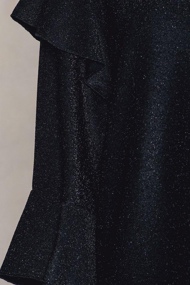 Flounce Sleeve Sparkle Top Black