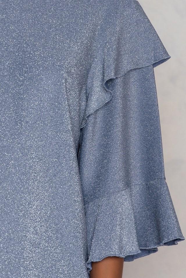 Flounce Sleeve Sparkle Top Dusty Blue