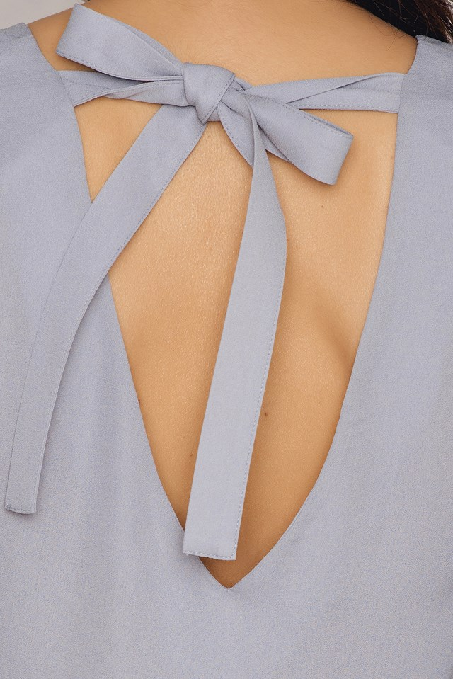 Flounced Sleeve V-Neck Blouse Grey