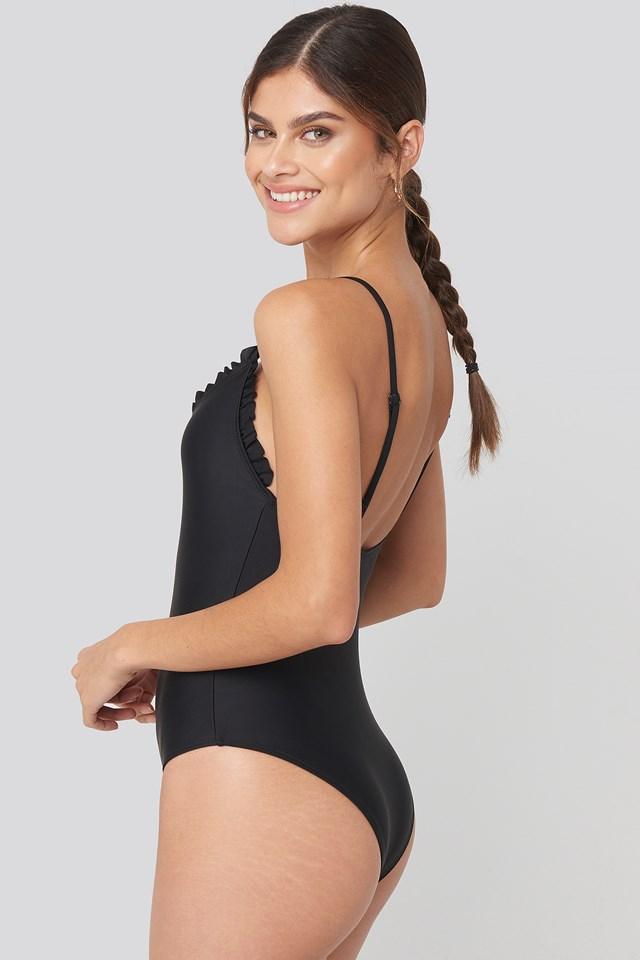 Flounce Swimsuit Black