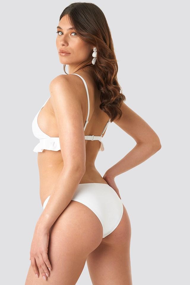 Flounce Triangle Bikini Top White