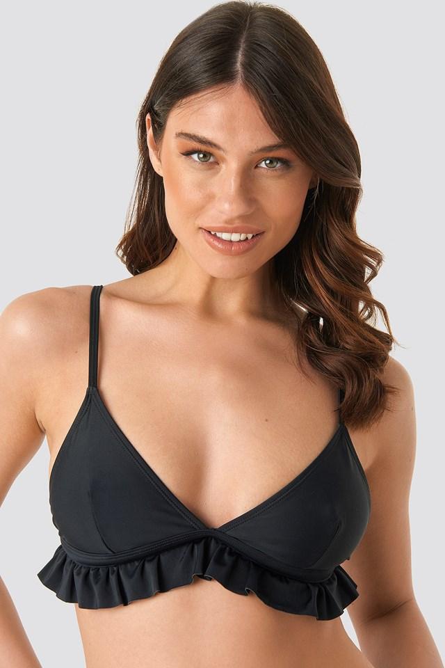 Flounce Triangle Bikini Top Black