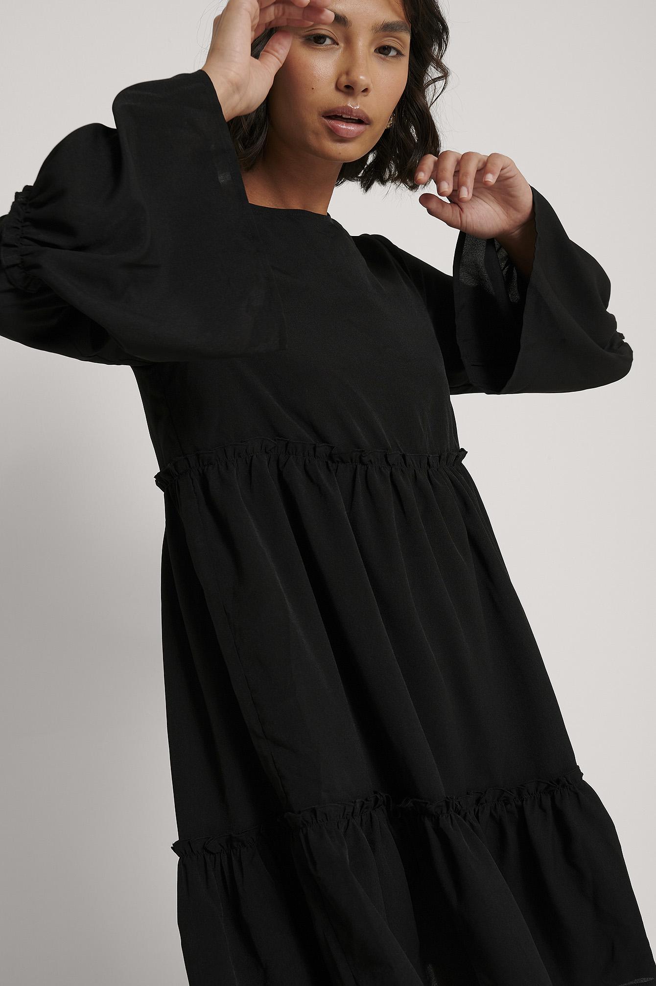 na-kd trend -  Minikleid Mit Volantärmeln - Black