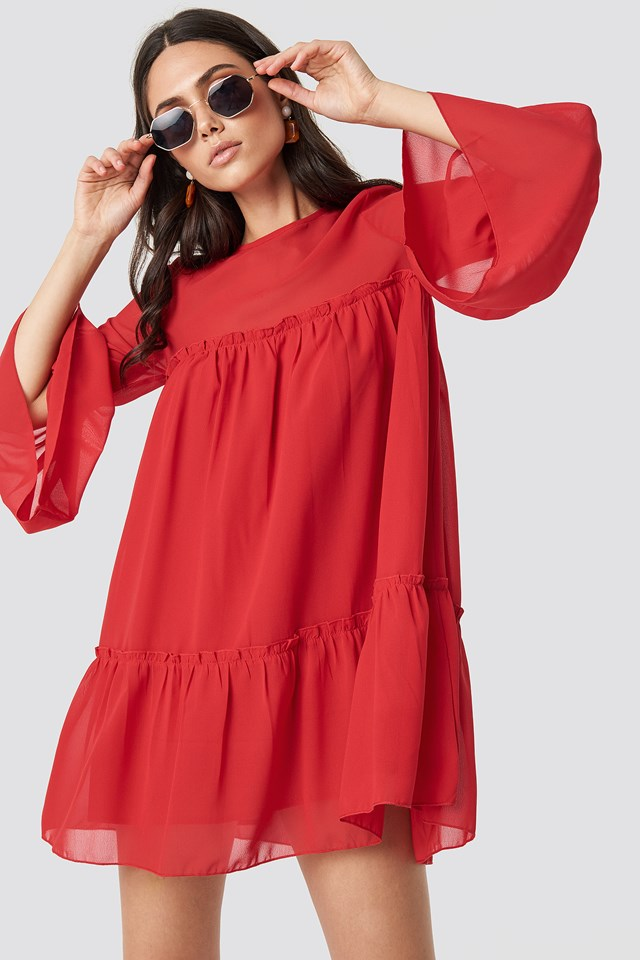 Flounced Mini Chiffon Dress Red