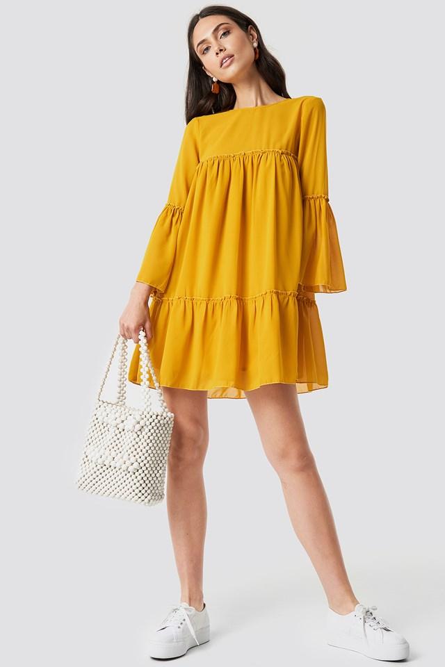 Flounced Mini Chiffon Dress Mustard Yellow