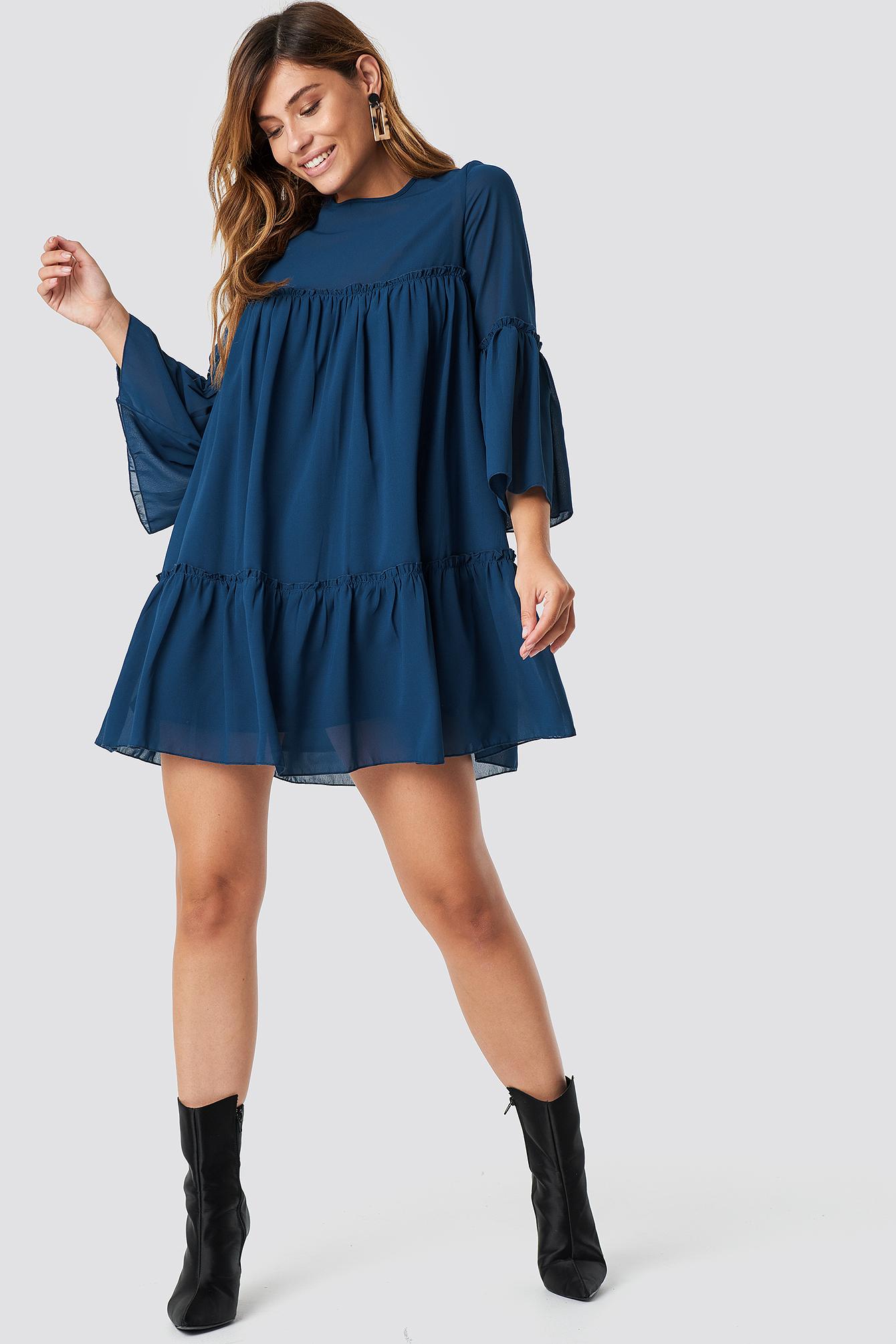 Chiffon kleid mit plissee armeln - Stylische Kleider für ...