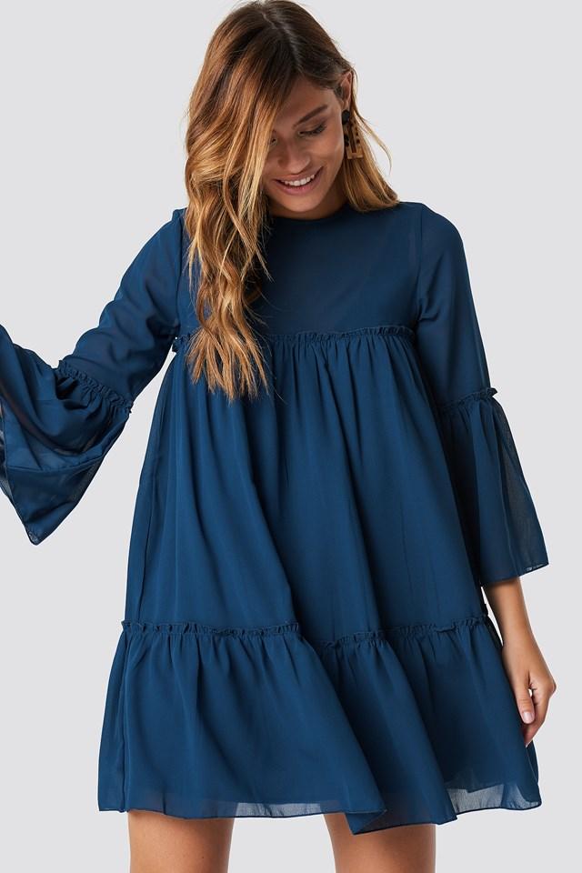Flounced Mini Chiffon Dress Dark Blue