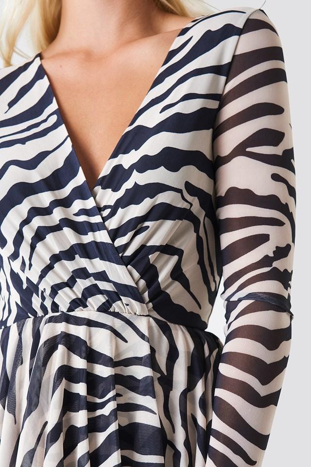 Flounced Overlap Mesh Dress Zebra