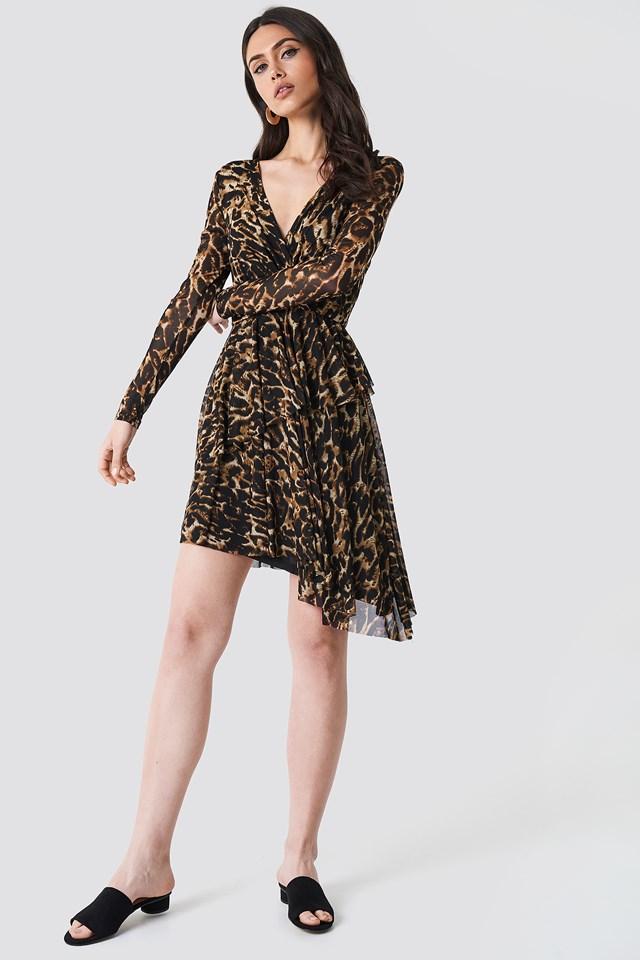 Flounced Overlap Mesh Dress Leoprint
