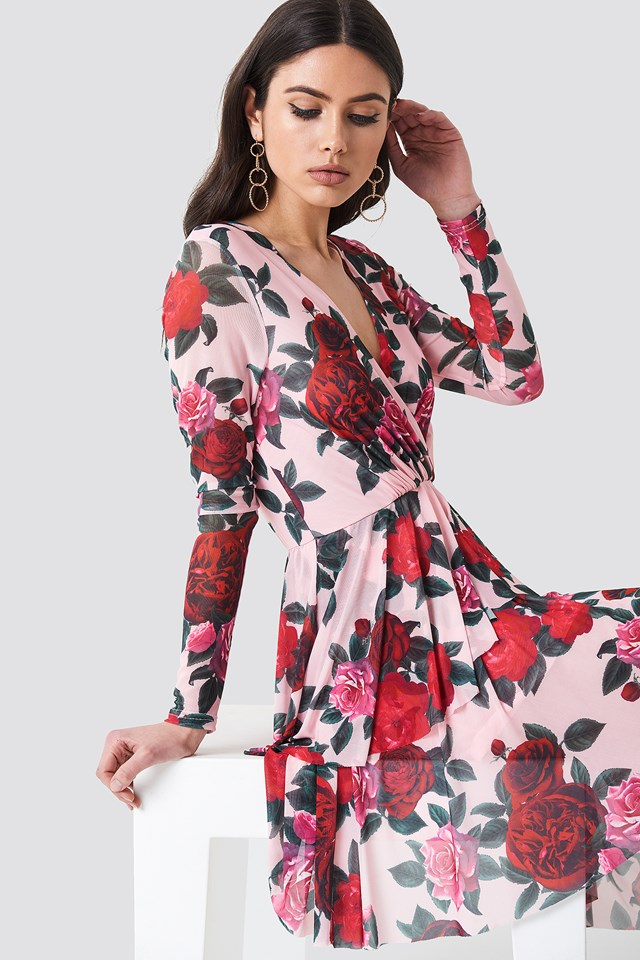 Flounced Overlap Mesh Dress Pink Floral