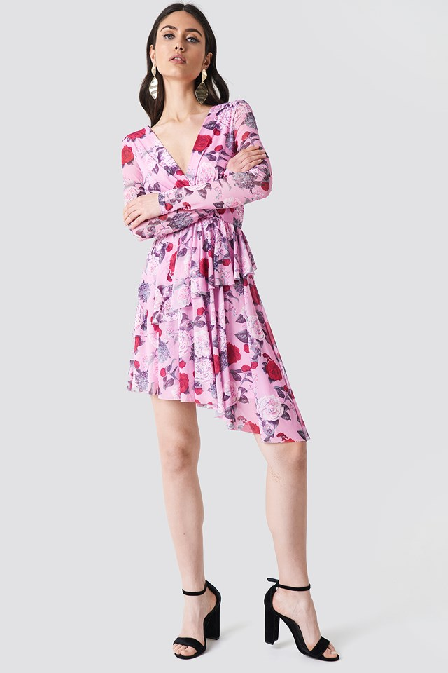 Flounced Overlap Mesh Dress Flower Pink Pattern