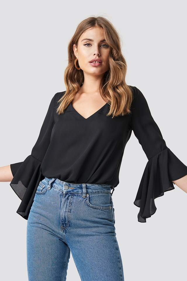 Flounced Sleeve V-Neck Blouse Black