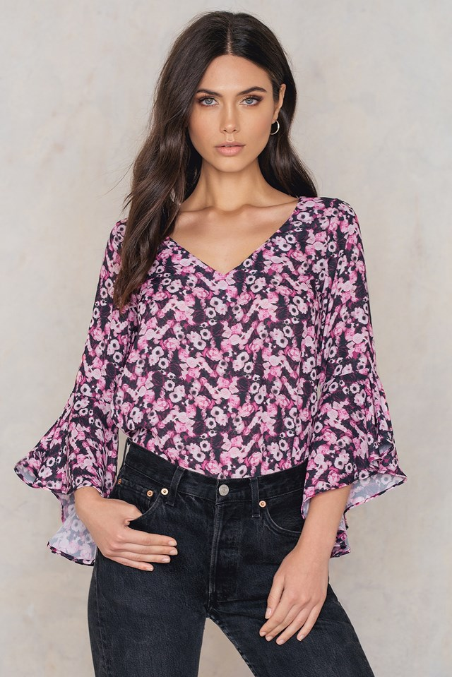 Flounced Sleeve V-Neck Blouse Flower Print