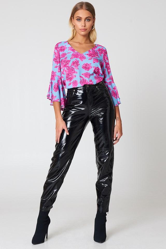 Flounced Sleeve V-Neck Blouse Pink Roses