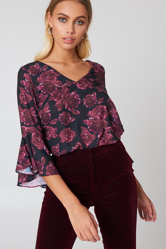 Flounced Sleeve V-Neck Blouse Burgundy Roses