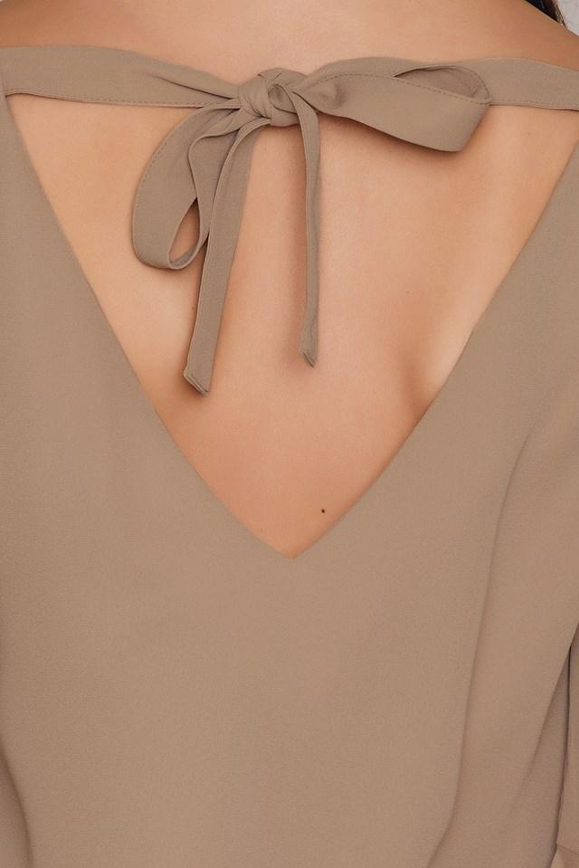 Flounced Sleeve V-Neck Blouse Tan