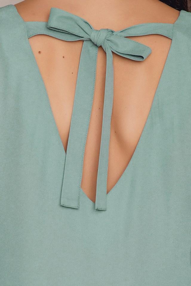 Flounced Sleeve V-Neck Blouse Dusty Green