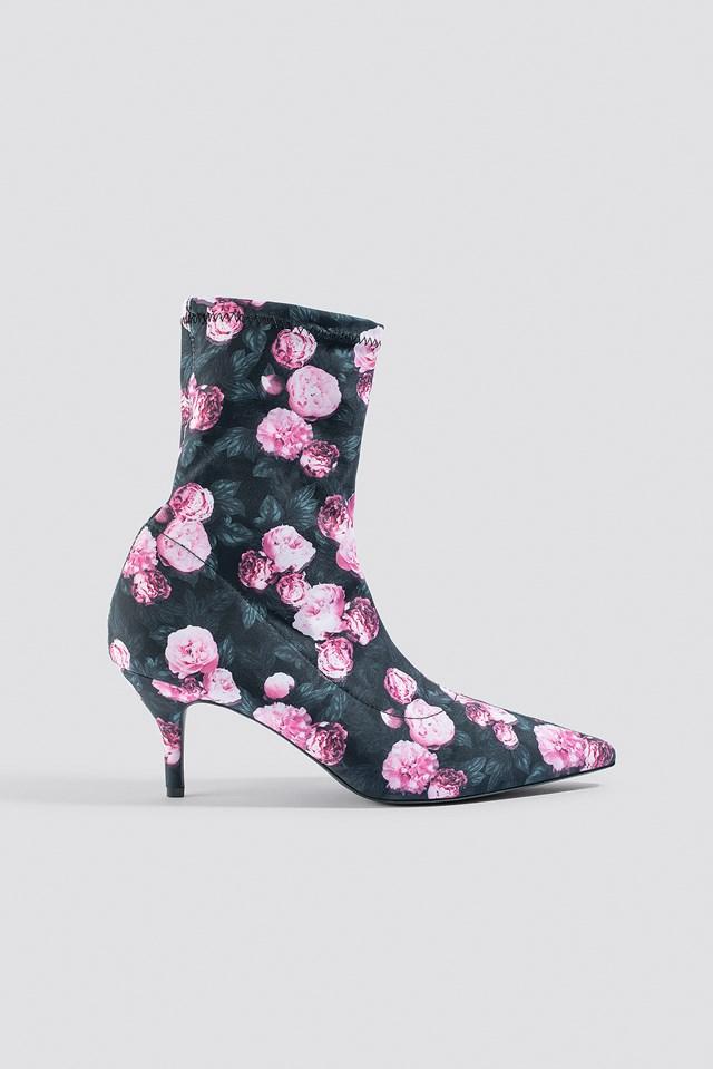 Flower Printed Sock Boots Peony Garden