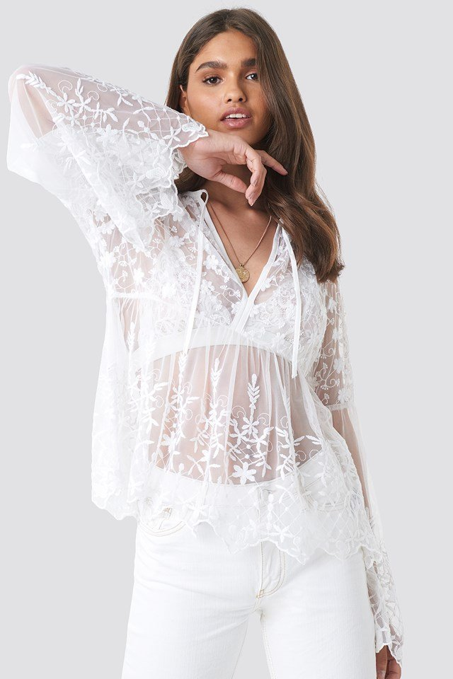 Flower Embroidery Mesh Blouse White