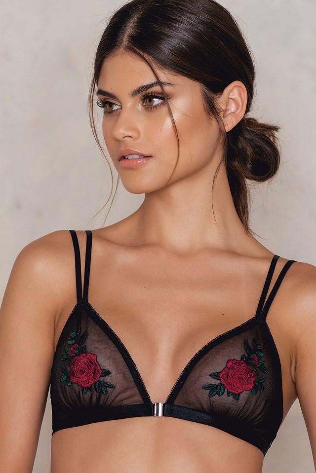 Flower Embroidery Bra Black