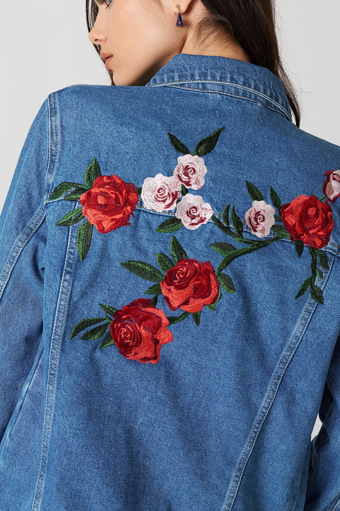 Flower Embroidery Denim Jacket NA-KD.COM