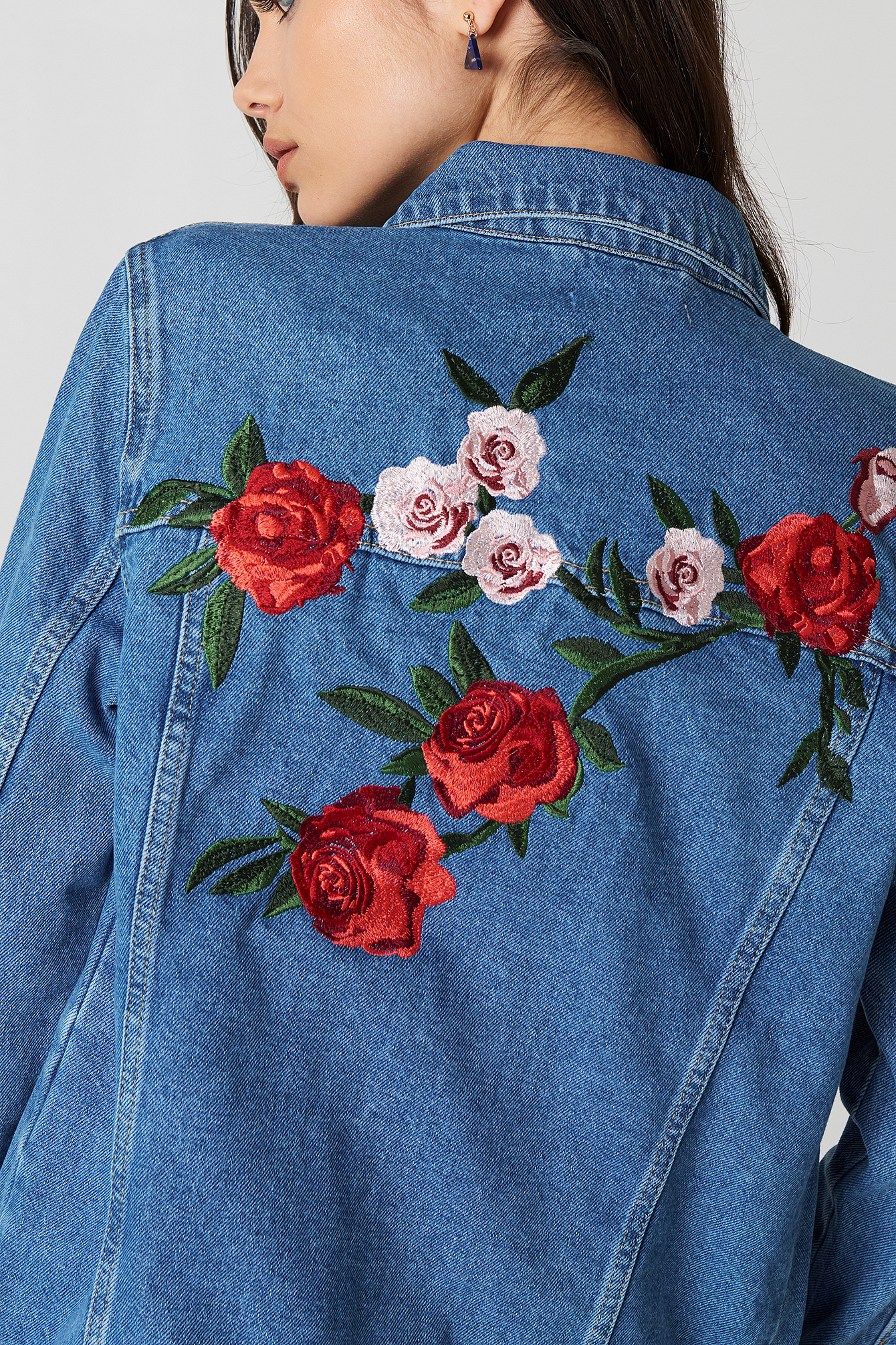 Flower Embroidery Denim Jacket Medium Wash Na Kd Com