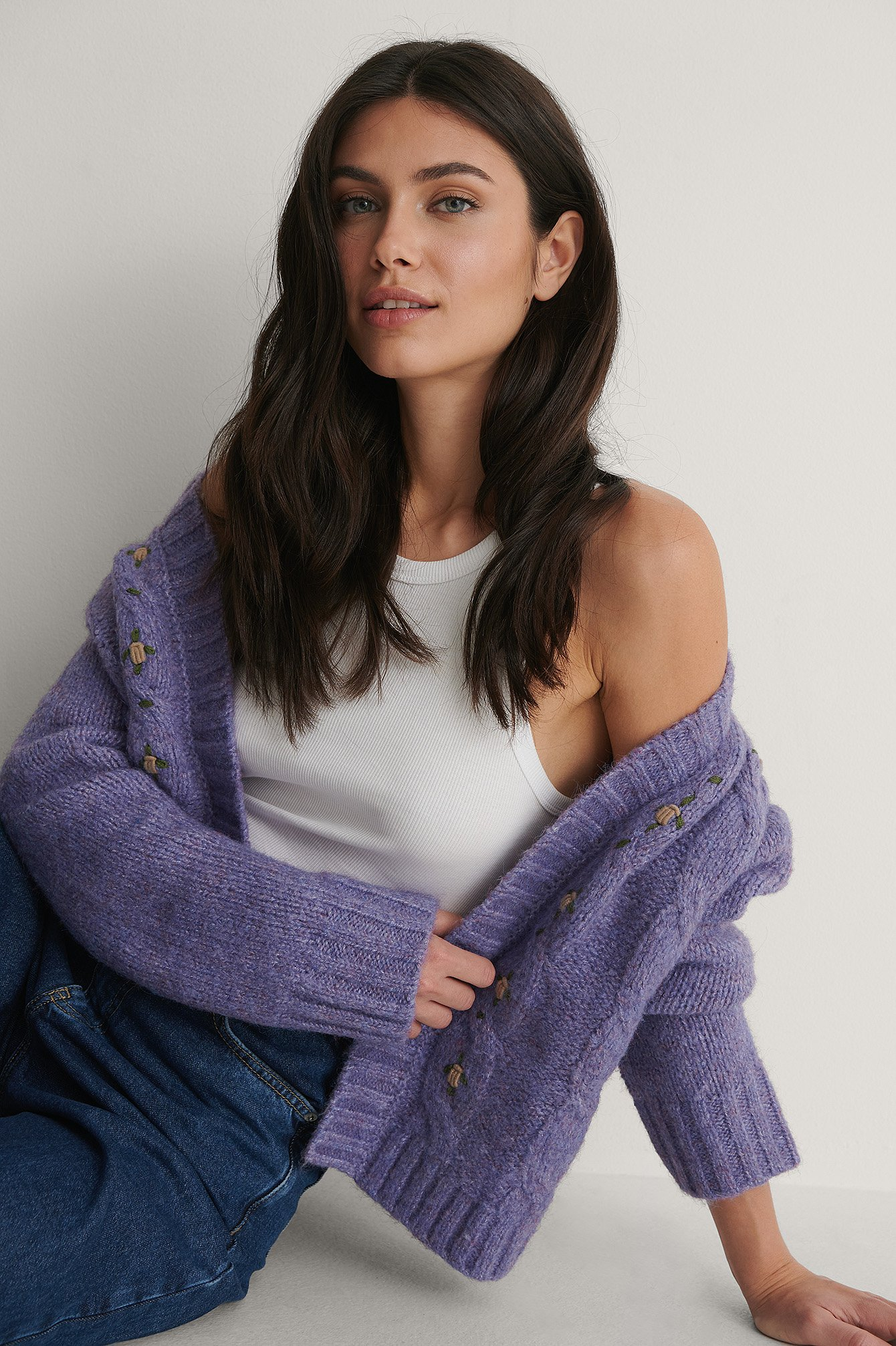 Purple Flower Embroidery Knitted Cardigan