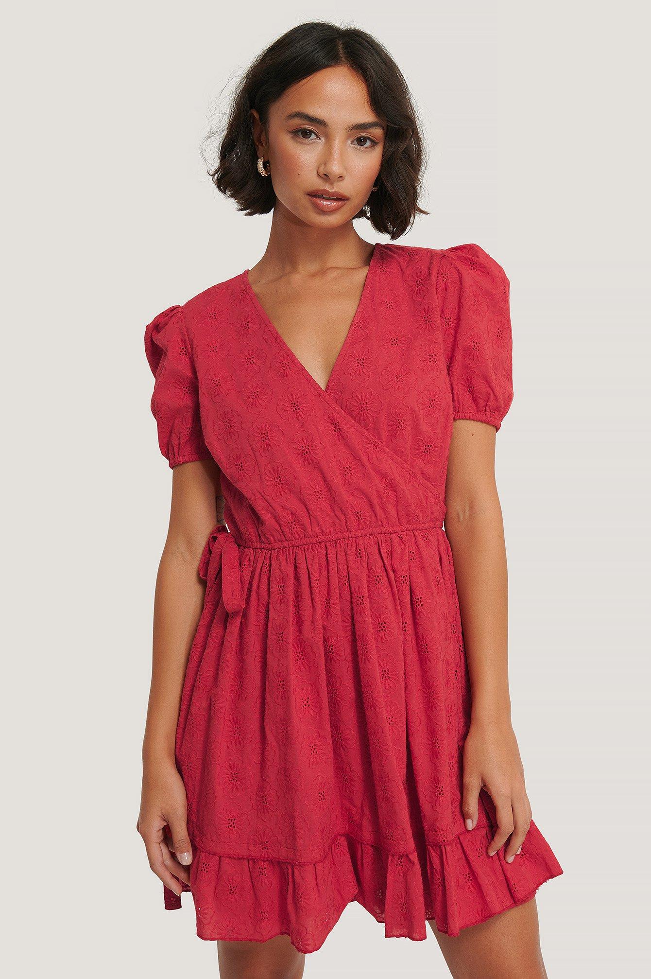na-kd boho -  Kleid Mit Stickerei - Red