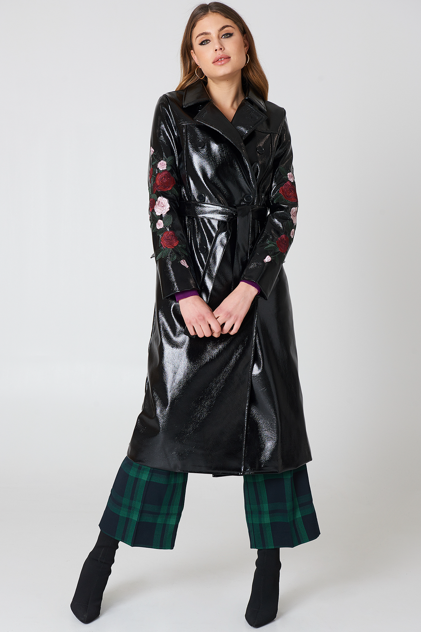 na-kd -  Flower Embroidery Patent Coat - Black