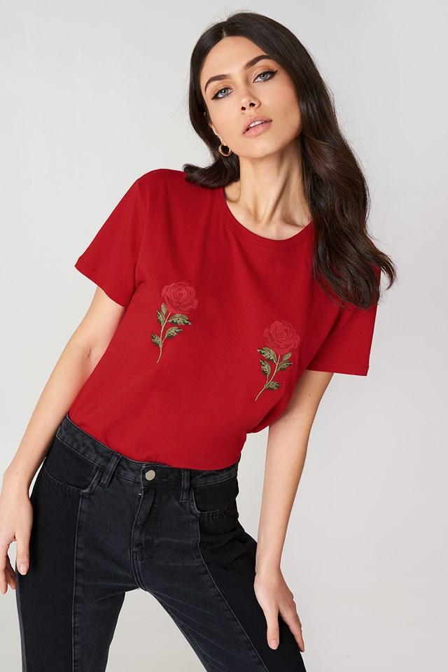 Flower Embroidery Tee NA-KD.COM
