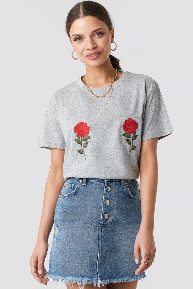 Flower Embroidery Tee Grey Mel