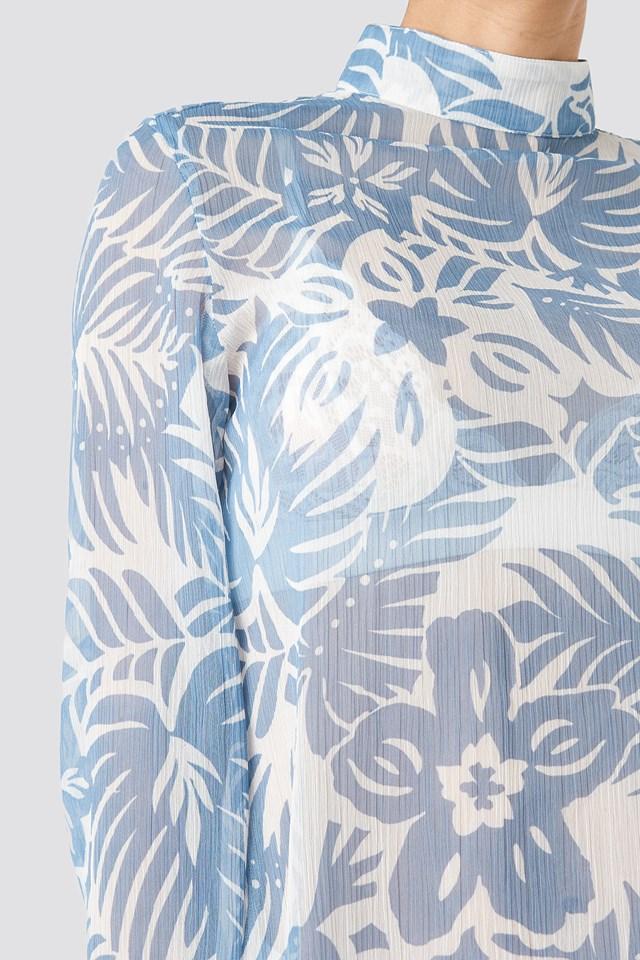Flower High Neck Blouse Light Blue