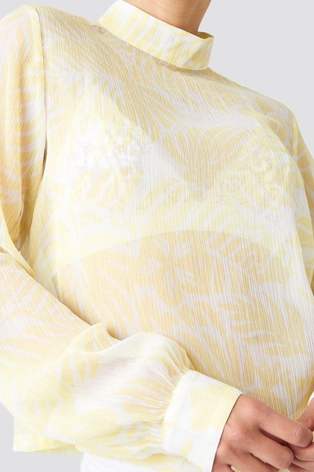 Flower High Neck Blouse Light Yellow