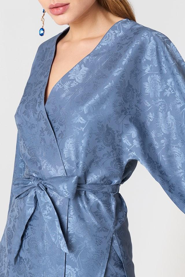 Flower Jacquard Kimono Blue Stone