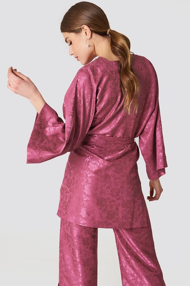 Flower Jacquard Kimono Purple Rose