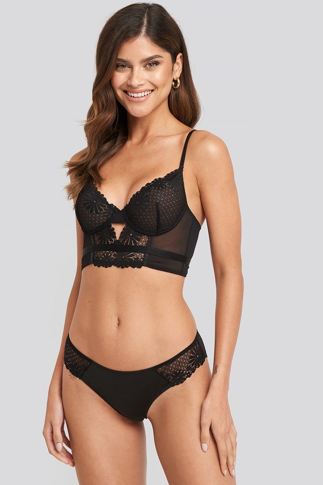 Flower Lace Cheeky Panty Black