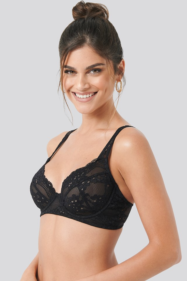 Flower Lace Cup Bra Black