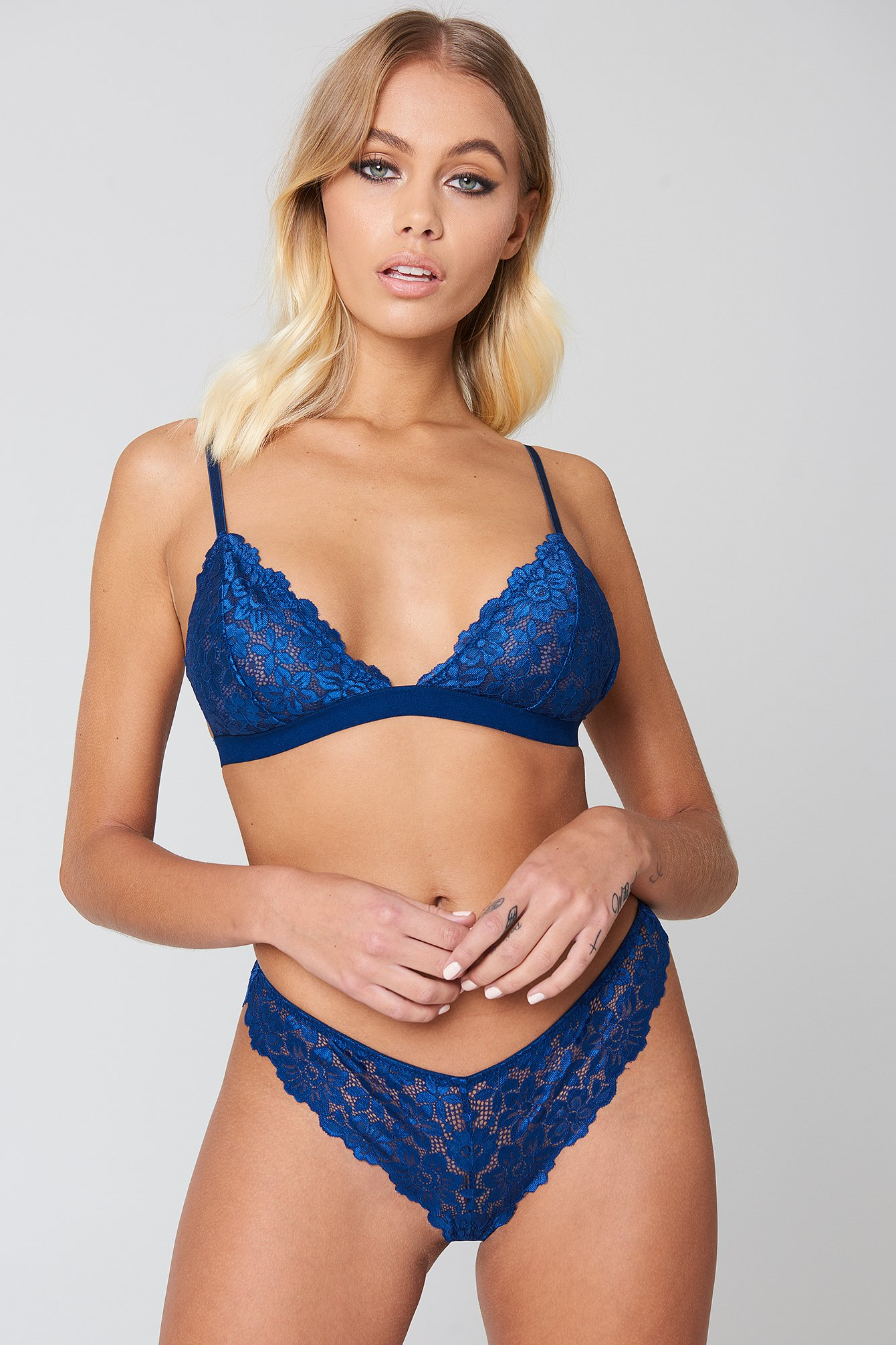 Dark Blue Flower Lace Pantie