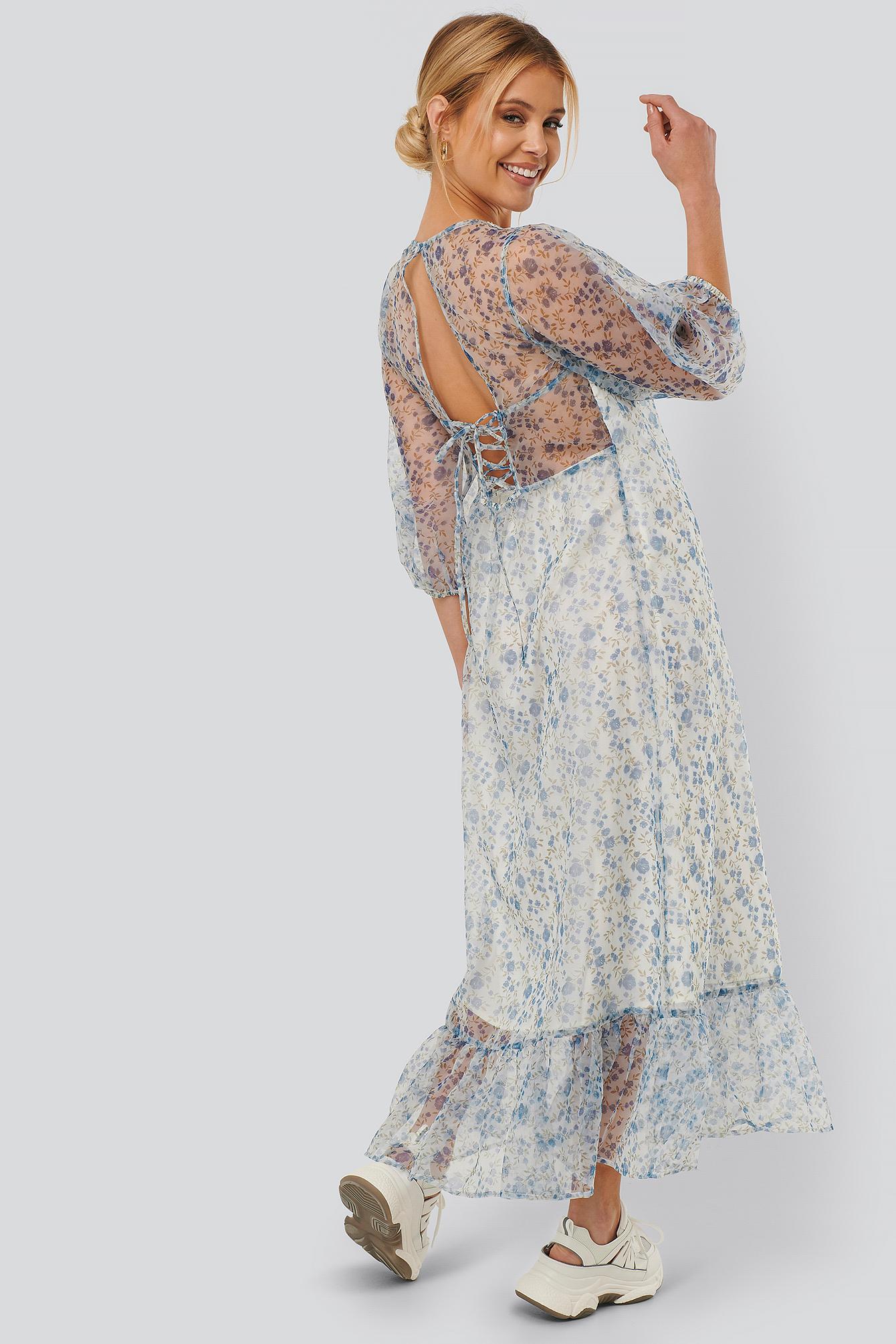 NA-KD Boho Flower Printed Organza Open Back Dress - Blue