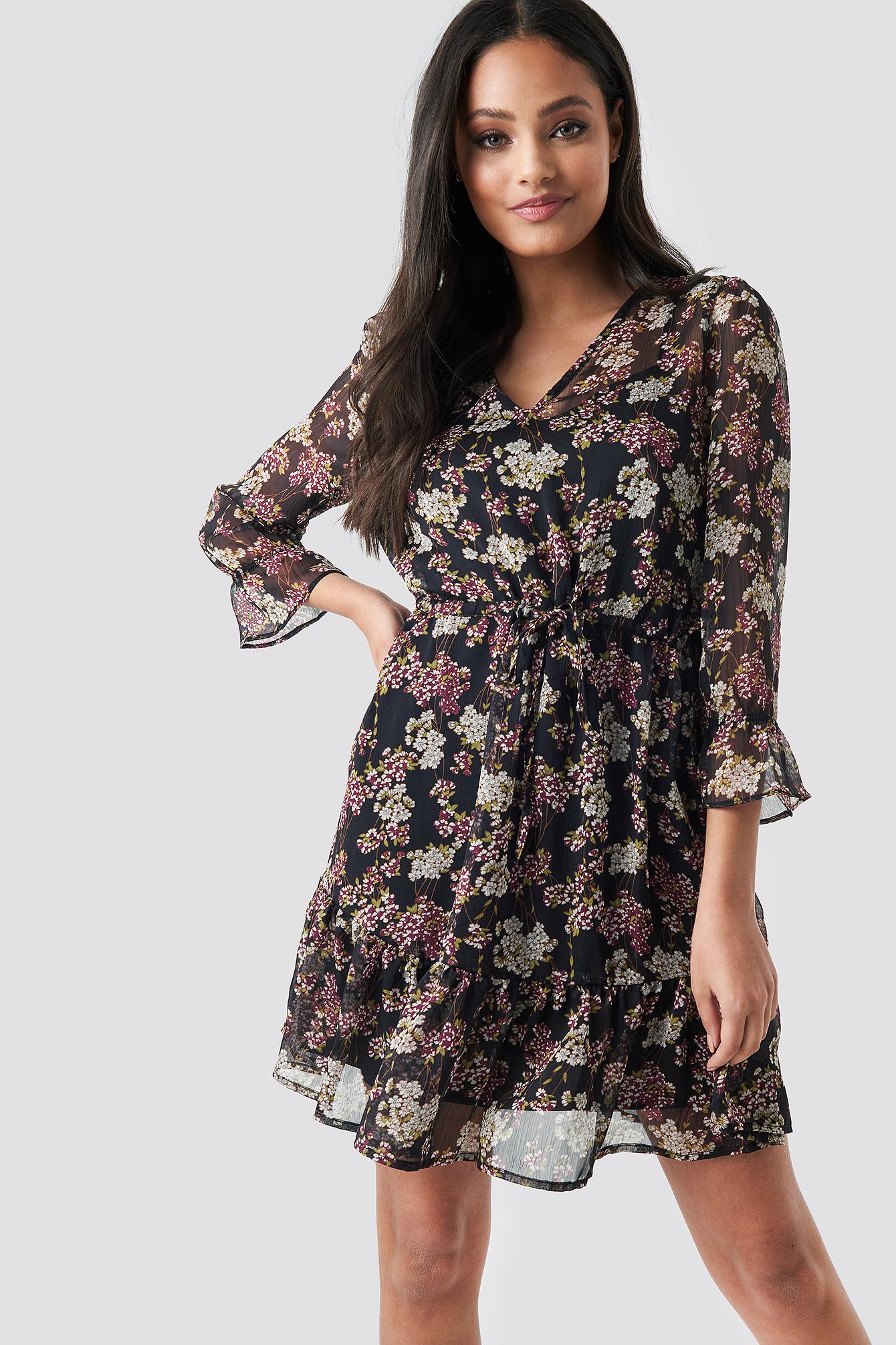 Flower Print Drawstring Chiffon Dress NA-KD.COM