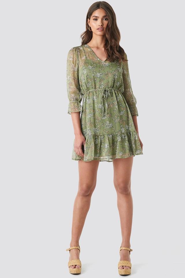 Flower Print Drawstring Chiffon Dress Dusty Green