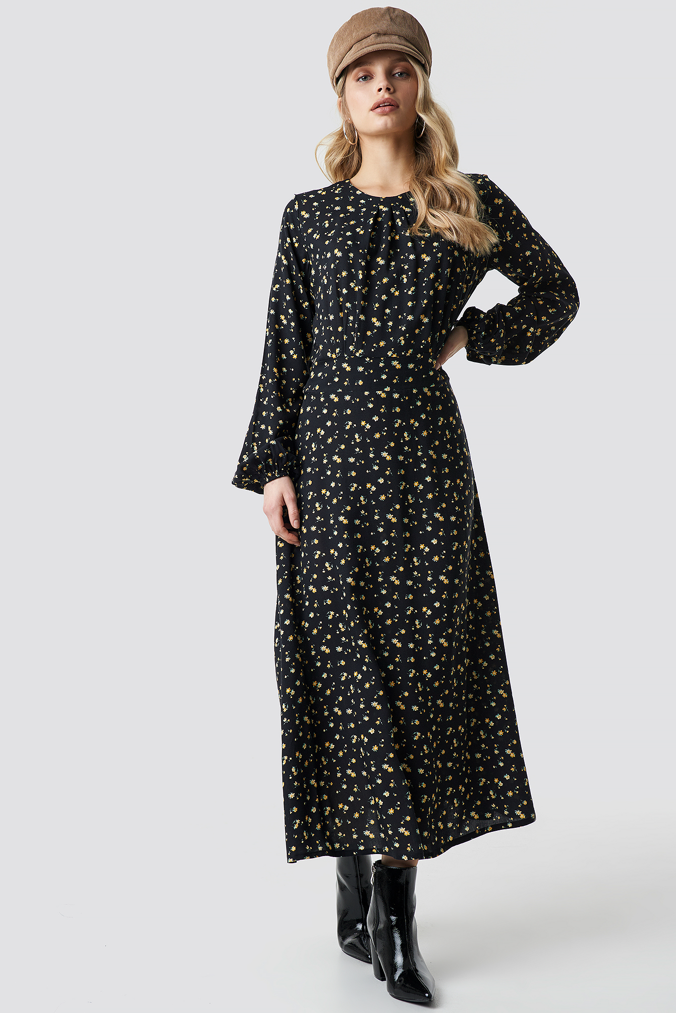 Flower Print LS Midi Dress NA-KD.COM