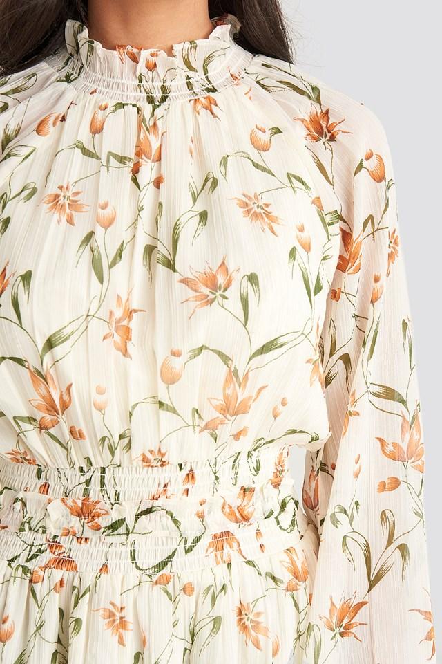 Flower Print Smock Detail Dress White Floral