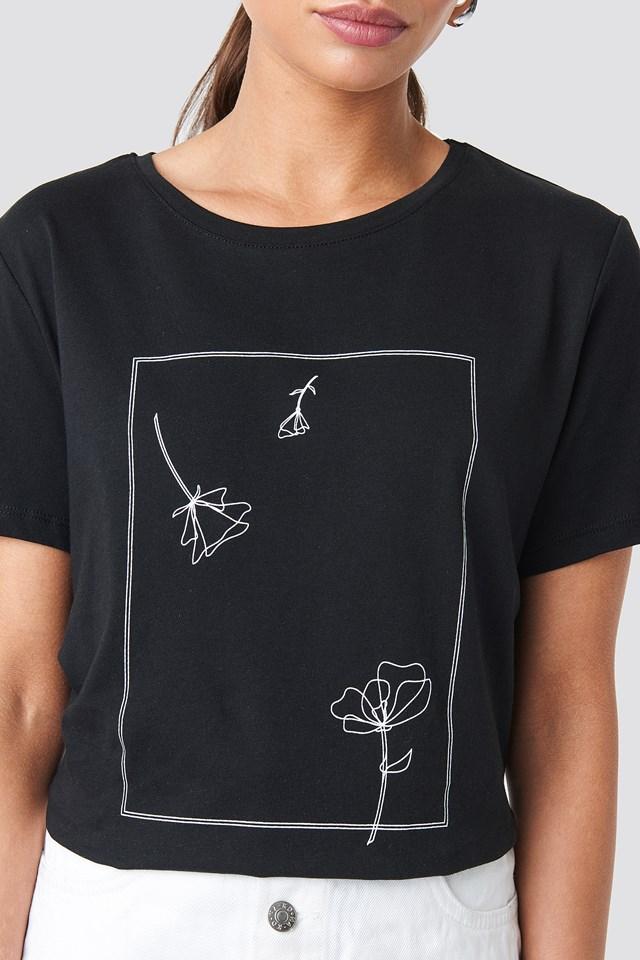 Flower Print Tee Black/White