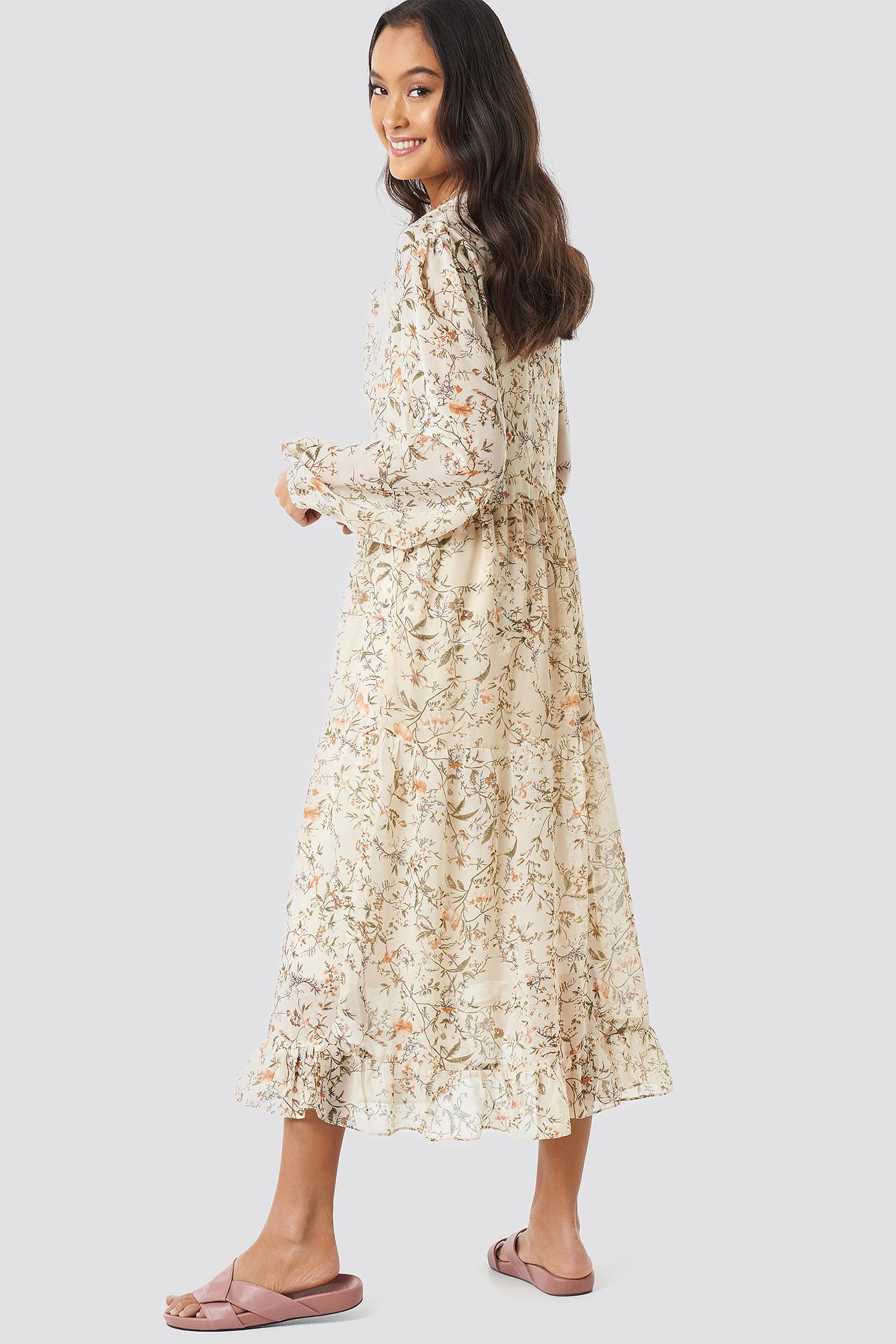 Flower Print Tiered Midi Dress NA-KD.COM