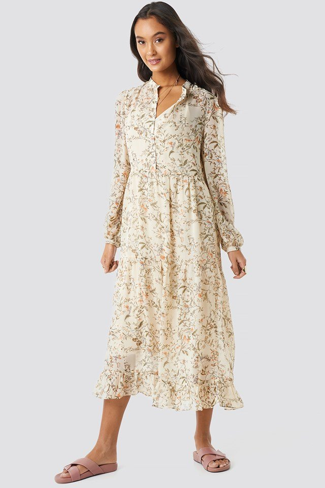 Flower Print Tiered Midi Dress Cream