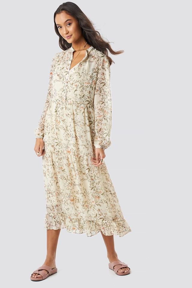 Flower Print Tiered Midi Dress Cream