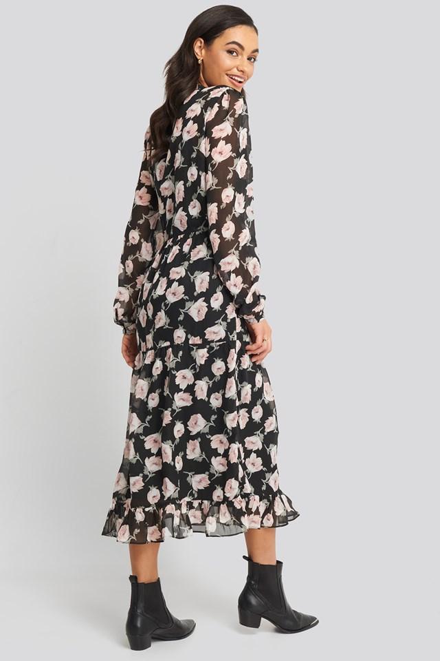 Flower Print Tiered Midi Dress Black/Pink Flower Print