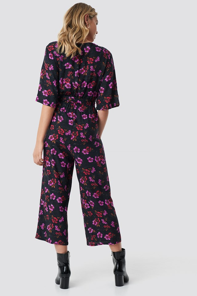 Flower Print Wrap Jumpsuit Flower Print